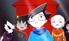 This is my favorite scene from Act 7. Just look at it. Look how John goes from utter disbelief to amazement. Look how Rose contently smiles, relaxed for the first time in months, maybe even years. Look how Karkat blinks slowly, almost unable to believe what he's seeing, because finally he could stare at a healthy universe, one that he didn't destroy, and that he would soon become a part of. Everything about this tugs at my heartstrings.