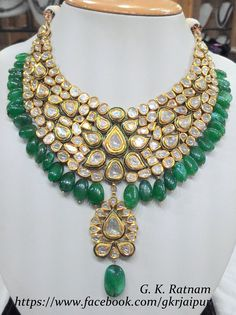 Green meenakari diamond polki necklace with beryl drops | Vilandi Jewelry | Diamond polki jewelry | Bridal sets | Traditional Indian Jewelry | Wedding Jewelry