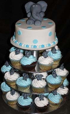 Cute elephant cupcakes by dionne