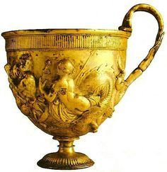 The Ancient Romans were very accomplished at chaising and repousse, which can be seen in this little gold cup from Pompeii.