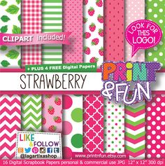 STRAWBERRIES, Digital Paper, Background, clip art, png, girly, fiuscha, chevron, for party printables, invitations scrapbooking, strawberry