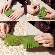 How to DIY Mini Crepe Paper Christmas Tree | www.FabArtDIY.com