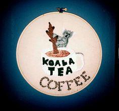 Koala tea embroidery