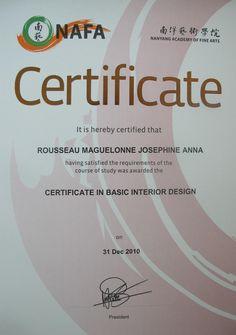 Certificate For Interior Design