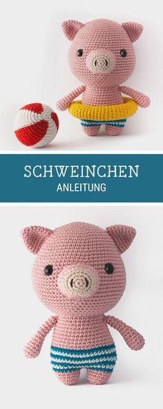 #Häkelanleitung mit E-Book für ein süßes Amigurumi Schweinchen, #häkelinspiration / #crochetpattern for an #amigurumi pig made by Mariska via DaWanda.com