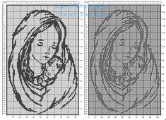 La Madonna con bambino schema filet uncinetto gratis 105 x 160 quadretti