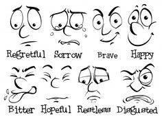 Drawing Eyes Expression Learn to be Happier, Living Through the Full Range of Human Emotions Cartoon Faces Expressions, Funny Cartoon Faces, Drawing Cartoon Faces, Cartoon Expression, Eye Expressions, Cartoon Art, Art Drawings For Kids, Easy Drawings, Realistic Eye Drawing