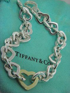 """Tiffany & Co. Sterling Silver & 18K Gold Heart Link Bracelet  8"""" inch MINT"""