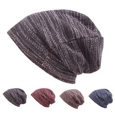 Mens Women Cotton Outdoor Slouch Beanie Hat Pure Color Knitted Striped Elastic Cap, flat brim hats, straw hat pirates, skull cap helmet #motorcycles #photography #products baseball nursery, baseball diy, baseball pictures, back to school, aesthetic wallpaper, y2k fashion