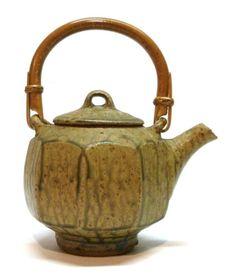 Jeff Oestreich Cut Sided Green Ash Glaze Studio Pottery Teapot - Minnesota