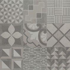 O porcelanato Essence Decor Neutro é uma releitura dos clássicos ladrilhos hidráulicos, geralmente super coloridos. Aqui ele vem em tons de cinza, fácil de compor mesmo sendo um patchwork. Na pic uma das 5 faces do Essence. #elianerevestimentos #porcelanato #tiles #cinza #patchwork #ladrilhohidraulico #ladrilho