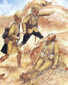 British Forces in the Second Boer War Private, Argyll and Sutherland Highlanders Highland regiments were issued with khaki kilt-covers, although these were only effective from the front, when the men were lying down, the back of the kilt remained conspicuous. Officer, Highland Light Infantry The HLI began the war with trews and cross-hilted Scottish swords: both were soon abandoned. The trews were replaced with khaki trousers. Wolseley helmets, as here, remained popular with officers…
