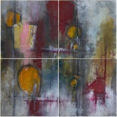 Abstract 0115 Four panel mixed media abstract.