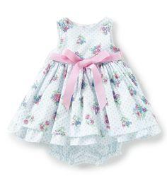 2702563bfbdd Laura Ashley Baby Girls Newborn-9 Months Floral Print Sleeveless Bow Dress
