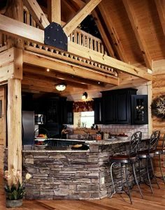 Wood and Stone Kitchen w/loft
