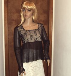 BZ Bee Vintage Womens Blouse 1970s Black Mesh Sheer Illusion Draped Lace Net Tulle Gothic Retro Top Size Small.