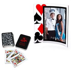 """This frame and playing cards favor set will keep you organized and on budget for your casino Prom theme. Set includes one 5"""" x 7"""" acrylic frame and one playing card tin with a deck of cards. Add your custom imprint to both pieces to create personalized Prom keepsakes your teens will love."""