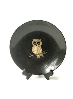 Couroc of Monterey Bowl with Owl. Mid Century by GatewayHeirlooms