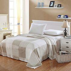 Ben&Jonah Designer Plush Twin CamessaMicro Fleece Jacquard Blanket -Beige-White Square