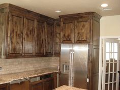 Depiction Of Creating Distressed Wood Cabinets Only With Paint And Wax Knotty Alder Kitchenwood