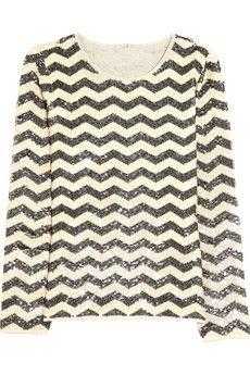 J.Crew sequined cotton chevron sweater