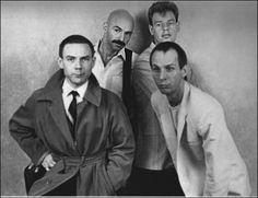"Robert Fripp, Tony Levin, Adrian Belew, and Bill Bruford, the ""Discipline"" lineup of King Crimson."