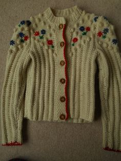 Vintage Tyrolean style embroidered floral cream by redbeachgirl