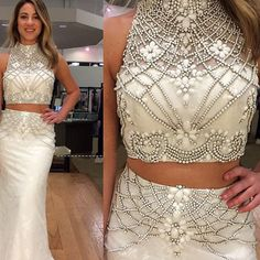 prom dresses 2017 on sale at reasonable prices, buy Ivory Trumpet 2 Piece Prom Dresses 2017 Sexy Beading Crystal Taffeta Vestido De Formatura Formal Evening Dress For Women from mobile site on Aliexpress Now! Prom Dresses Two Piece, Gold Prom Dresses, Pretty Prom Dresses, Mermaid Prom Dresses, Two Piece Dress, Party Dresses, Dress Long, Dresses Dresses, Beaded Dresses