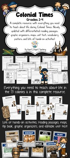 Take a Step Back in Time to Learn about Life in the 13 Colonies! This pack has 20 differentiated reading passages, organizers, brochure activity, unit test, flip book, maps, vocabulary posters, case files on ten tradesmen of colonial times, comprehension and connection activities, and so much more!