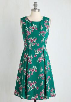 I Rest My Grace Dress in Emerald Blooms - Green, Floral, Print, Daytime Party, Fit & Flare, Sleeveless, Woven, Good