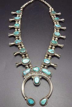 Impressive Vintage NAVAJO Sterling Silver Turquoise SQUASH BLOSSOM Necklace 230g $1,448.35.00