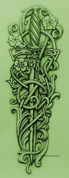 Green Knight's Sword and Vine by Tattoo-Design.deviantart.com on @DeviantArt