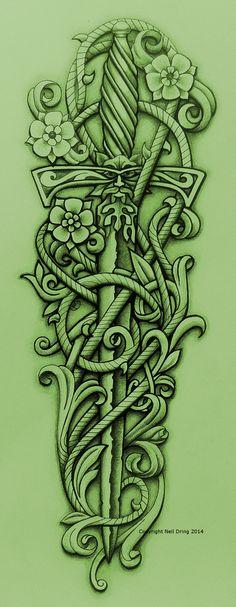 Green Knight's Sword and Vine by Tattoo-Design.deviantart.com on @DeviantArt