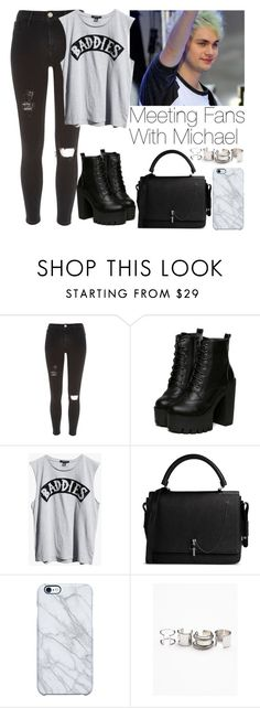 """""""Meeting fans with Michael"""" by lovatic92 ❤ liked on Polyvore featuring River Island, Mikey, Ksubi, Carven, Uncommon, Free People, women's clothing, women's fashion, women and female"""