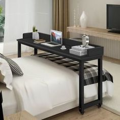 Overbed Table with Wheels, Tribesigns Mobile Desk with Heavy-Duty Metal Legs & Large Work Surface Works as Computer Desk or Nursing Table, for Home and Hospital Use (Teak. Bedroom Dressers, Bedroom Sets, Bedroom Furniture, Furniture Design, Bedroom Decor, Bedrooms, Trendy Bedroom, Cheap Furniture, Discount Furniture