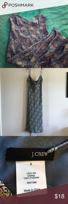 """Gorgeous Long Silk Dress Long silk dress with spaghetti straps (that can be tied/readjusted to fit as needed) - zipper closure in back - slightly ruffled hem - fully lined - measures about 42"""" from top of strap/shoulder to bottom of dress - like new condition - perfect for summer  J. Crew Dresses"""