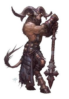 satyr with mace DnD / PAthfinder character concept Dungeons And Dragons Characters, Dnd Characters, Fantasy Characters, Dungeons And Dragons Art, Dark Fantasy Art, Fantasy Rpg, Fantasy Artwork, Fantasy Warrior, Creature Concept Art
