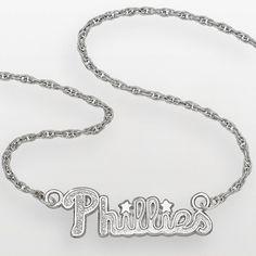 """LogoArt Philadelphia Phillies Sterling Silver Script Necklace, Women's, Size: 18"""", Grey"""