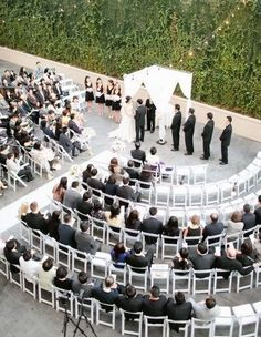 Wedding ceremony seating arrangement so that people at the end can see better. For help with your awesome ceremony, contact Hobart Celebrant russell@celebranttas.com http:/celebranttas.com