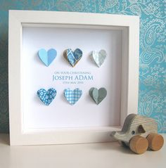 Personalised Christening Hearts Picture
