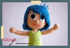 Joy Inside Out Free Amigurumi Crochet Pattern ~Her hair looks a little more like Disgust's but aside from that this is the best Joy pattern I've seen so far