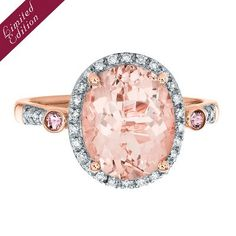 Helzberg Limited Edition® Morganite, Pink Tourmaline & 1/7 ct tw Diamond Ring in 10K Rose Gold