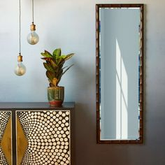 Bevvers full length rectangular mirror in mahogany Hm Home, Bamboo Plants, Shop Lighting, Lampshades, Decoration, Oversized Mirror, Light Bulb, Wall Lights, Room Decor