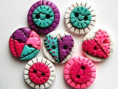 Button Antiqued Patch Hearts polymer clay buttons ( 7 ). $9.00, via Etsy.