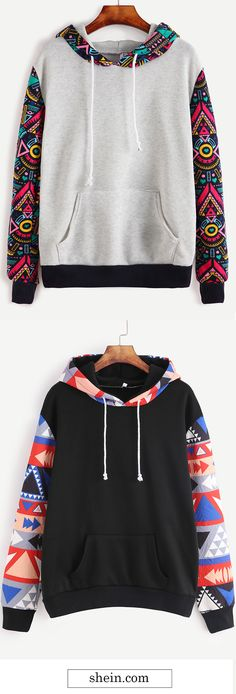 Contrast Sleeve Hooded Sweatshirt Collect.