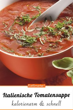 Tomatensuppe nach italienischer Art - Kalorienarme Tomatensuppe nach italienischer Art – schlauer – Kalorien: 133 kcal – Zeit: 20 m - Easy Soup Recipes, Sauce Recipes, Chicken Recipes, Vegan Recipes, Sauce Tomate Thermomix, Sopas Low Carb, Quick And Easy Soup, Tomato Soup, Italian Style