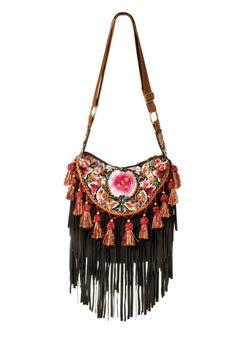 Bolsos al hombro - BOLSO BOHO CON BORLAS - INDIAN FLOWER - hecho a mano por Bright-Boho en DaWanda