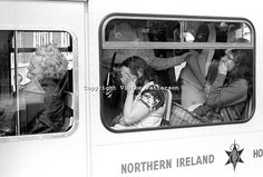 Distraught office workers in an ambulance following the explosion of a Provisional IRA bomb at the Belfast headquarters of the N Ireland Ele...