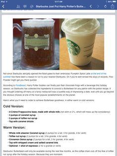 Starbucks secret menu: butterbeer