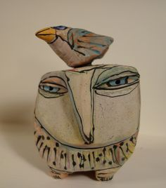 This Owl with Bird on its head came from the Big Crafty summer 2014 Asheville, NC. From Blue Fire Studios https://www.etsy.com/shop/bluefirestudio